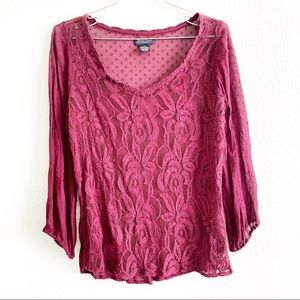 LUCKY BRAND lace blouse long sleeve top XS floral